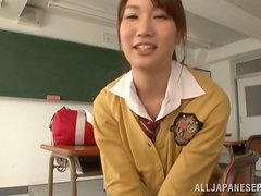 Japanese School Girl Giving a Hot POV Blowjob after Class