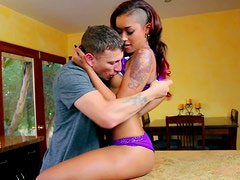 Red-haired ebony seductress Skin Diamond gets her sweet pussy licked