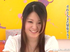 Horny Asian babe gets jizzed on her cute face