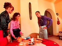 Fully clothed ladies make a mess in threesome