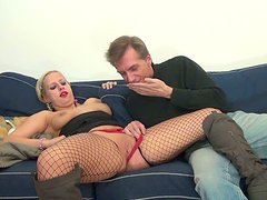 Slim nympho with braids Maria bows above the hot dick and rubs it passionately