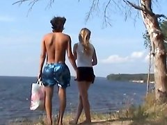 Slim girlie and her boyfriend switch from swimming to a tough outdoors sex