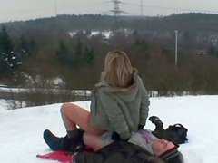 Dirty-minded hot blondie Ingrid gets fucked doggy by gaffer on cold winter day