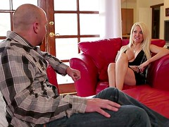 Helly Helfire gives a handjob and a blowjob to some lucky dude