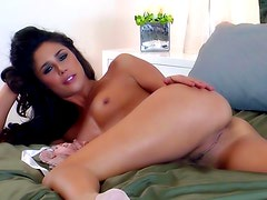 Perverted brunette is posing her tight puss