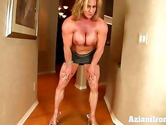 Aziani Iron mature female bodybuilder with huge clit