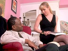 Blonde Caucasian girl seduces mature black stud