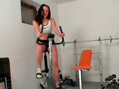 Wonderful sporty brunette Krystina desires to provide her coach with a handjob
