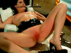 Arousing brunette hoe gets her pinkish cunt pinched with pins