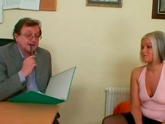 Charming blondie Michaela seduces old ugly man to be teased right in the office