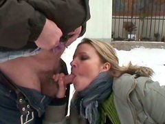 Hunting for orgasm on winter day slutty gal Ingrid gets fucked doggy outdoors