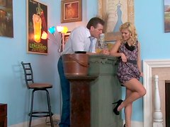 Kinky Elizabeth Bentley gives a head to mature man