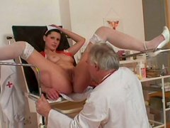 Buxom horny nurse Iveta has nothing against being fed with cum after a blowjob