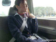 Yuna Shiina shows her tits and gets her pussy toyed in a car