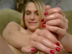 Hot bonde girl get a hard cock and plays with it