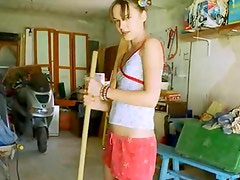 ultra hot naked sexy cunt in garage