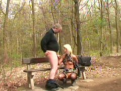 Svelte blond milf hops on aroused daddy in reverse cowgirl style