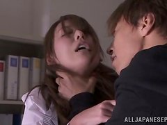 Japanese office girl gets fucked by a wicked dude in public