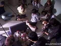 Robbers in masks fuck horny Japanese office chicks