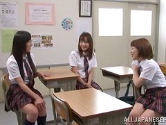 Three Extremely Oiled Up Japaense School Girls Having Sex with One Dick