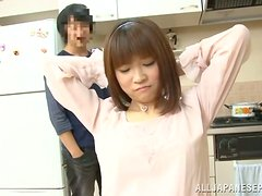 Talking in the Kitchen Ends with Blowjob and Sex with Japanese Chick