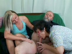 Dirty-minded slut Michaela agrees to have hot threesome with nasty old couple (FFM)