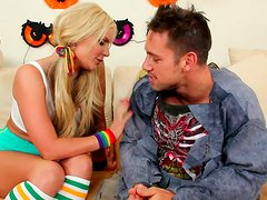 Astonishing blondie with pigtails Phoenix Marie gives a blowjob on Halloween