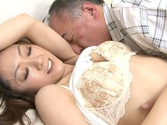 Cuddly Japanese slut Ruri Hayami gets her hairy snatch tongue fucked by horny daddy