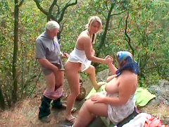 Slutty Eva rides and sucks the gaffer's dick while old fatso masturbates (FFM)