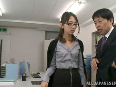 Rumi Kamida gets toyed and fucked in an office