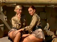 Sexy military soldiers are having passionate lesbi sex outdoor