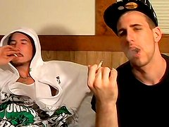 Sweet gays are smoking and masturbating together