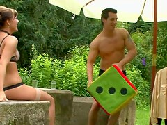 Kinky couple enjoys cosplay in the garden