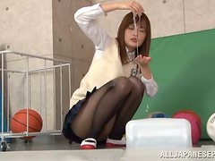 Messy Blowjob by Totally Oiled Up Japanese Girl with Clothes On
