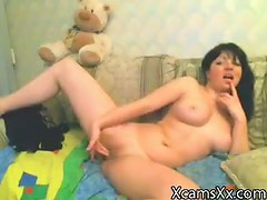 Beautiful doll shows us and gives himself to