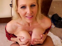 Torrid busty blondie Julia Ann has a strong desire to be banged from behind
