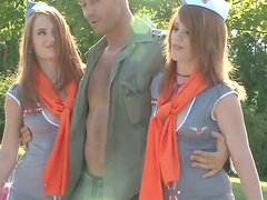 Dirty bitches wearing uniform are getting wild and dirty outdoor