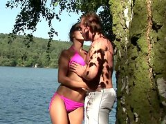 Naughty brunette Veronika gives hot blowjob in 69 pose