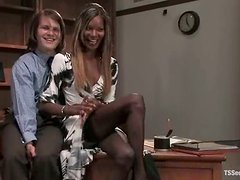Slutty tranny Mistress Soleli enjoys fucking Sky Burn's ass indoors