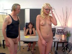 Slender innocent looking pale blonde babe Zoe Paige with small