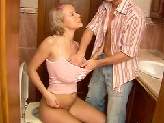 Kinky blondie Alice gets her juicy cunt eaten by blindfolded dude in the WC