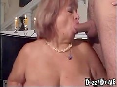Fat old bitch in stockings loves threesome sex