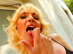Slutty blonde gets her holes filled with poles