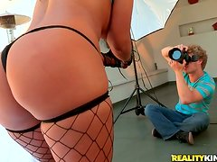 Mansa Cruz the hot Latina in fishnets gets pounded by the pool