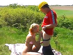 Blonde Teen's Fucked Hard Outdoors By An Old Man