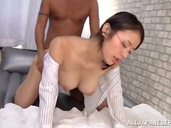 Japanese girl in glasses gets fucked cowgirl and doggystyle