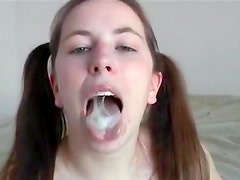 Sensual girlfriend is getting cum in mouth