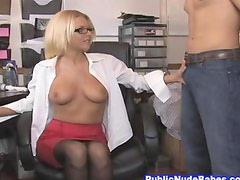 Horny Blonde Office Babe Handjobs