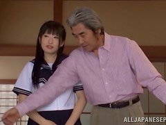 Old fart is fucking a kinky Japanese school girl
