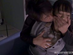 Petite Japanese office girl is having sex with her colleague